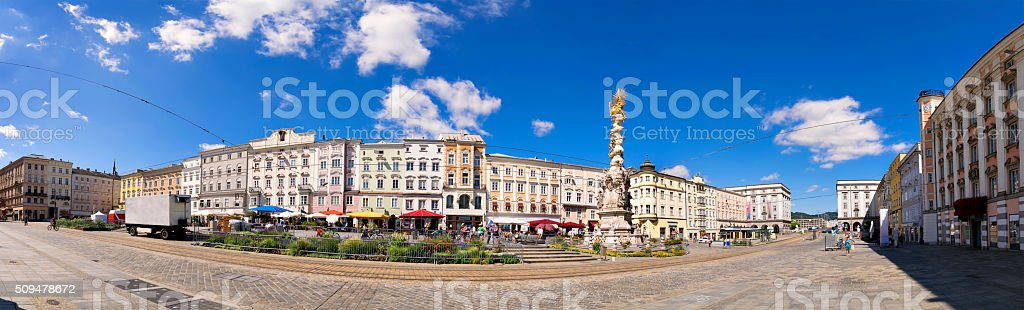 Panorama main square Linz stock photo