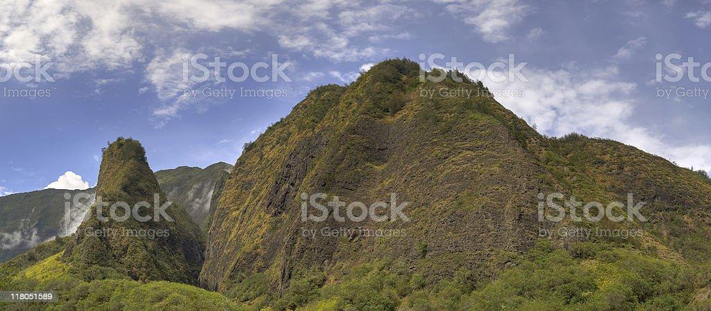 Panorama: Maui's Iao Needle and Valley stock photo