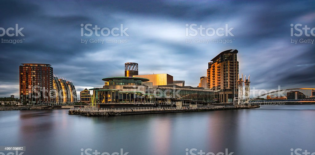 Panorama Media City At Salford Quays With Moody Sky. stock photo