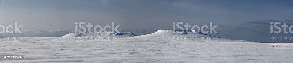 panorama mesas on Bering Island winter day stock photo