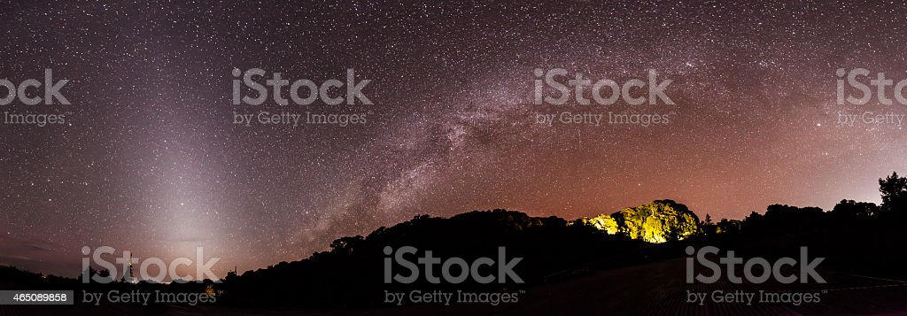 Panorama Milky Way rises over the mountain in Thailand. stock photo