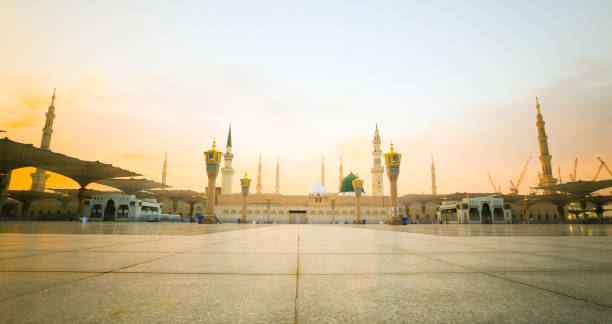 Panorama mosque of the Prophet Muhammad on in Medina, KSA. Panorama mosque of the Prophet Muhammad on in Medina, KSA. umrah stock pictures, royalty-free photos & images