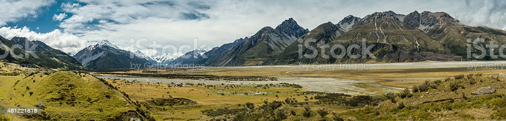 Panorama Mount Cook National Park, New Zealand stock photo