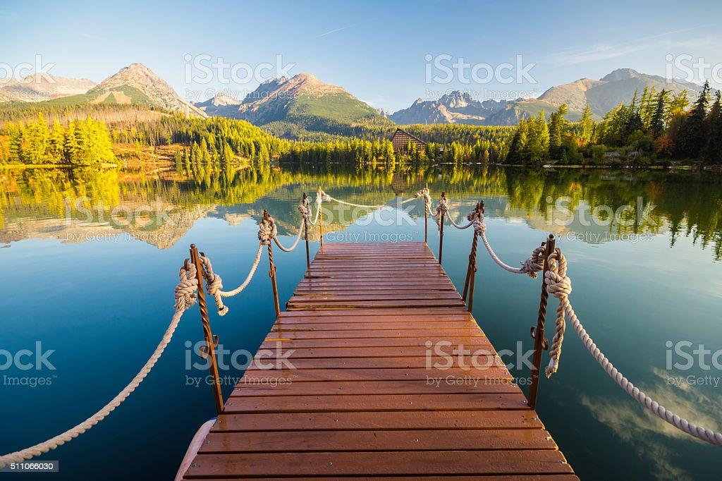 Panorama mountain lake stock photo