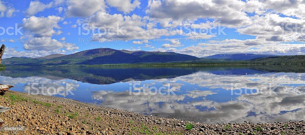 Panorama mountain lakes on the Putorana plateau. stock photo