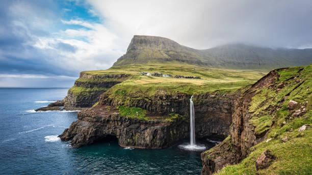 Panorama Mulafossur Waterfall Gásadalur Village Vágar Faroe Islands