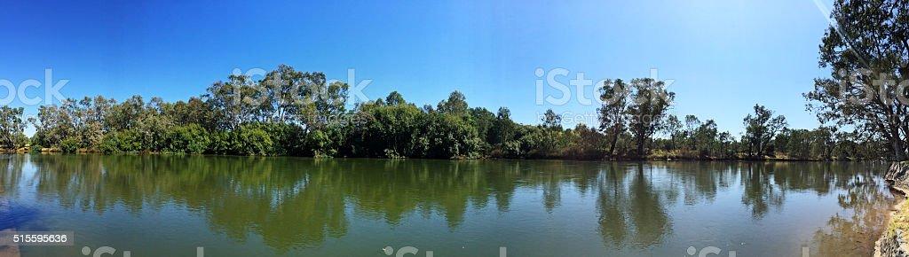 Panorama Murray River at Noreuil Park, Albury, NSW, Australia stock photo