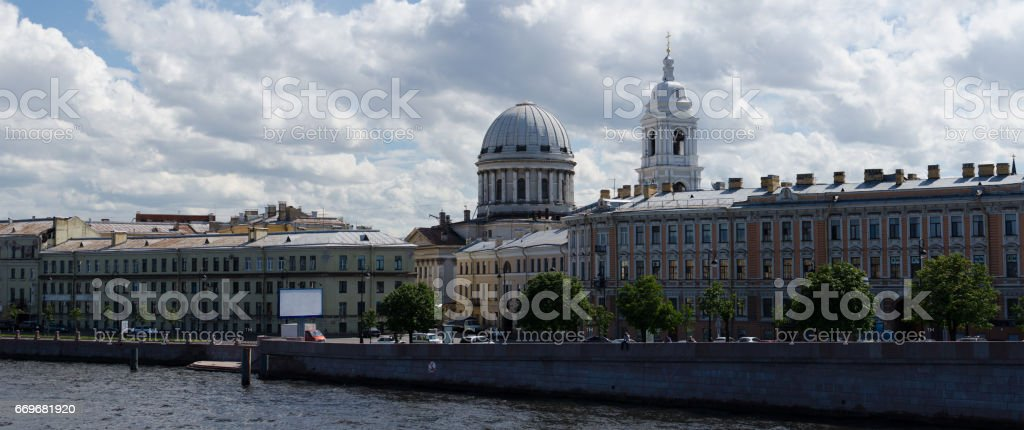 Panorama Neva river, Tuchkov Bridge, Catherine Church, Saint Petersburg, Russia stock photo