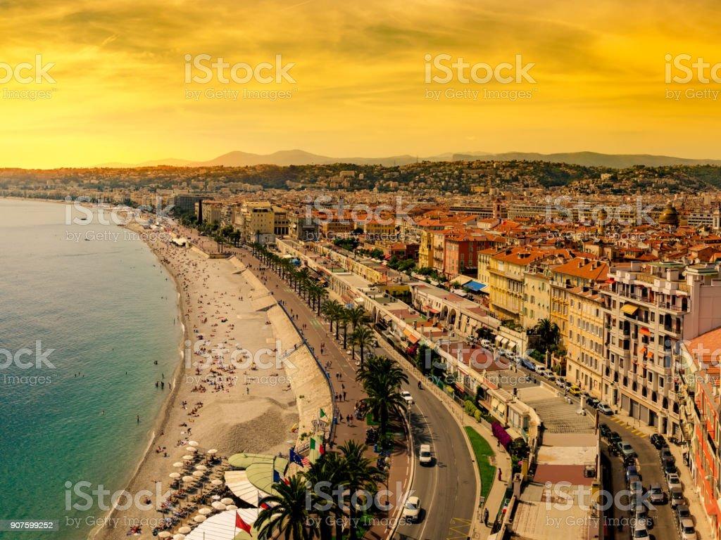 Panorama, Nice, France at sunset stock photo