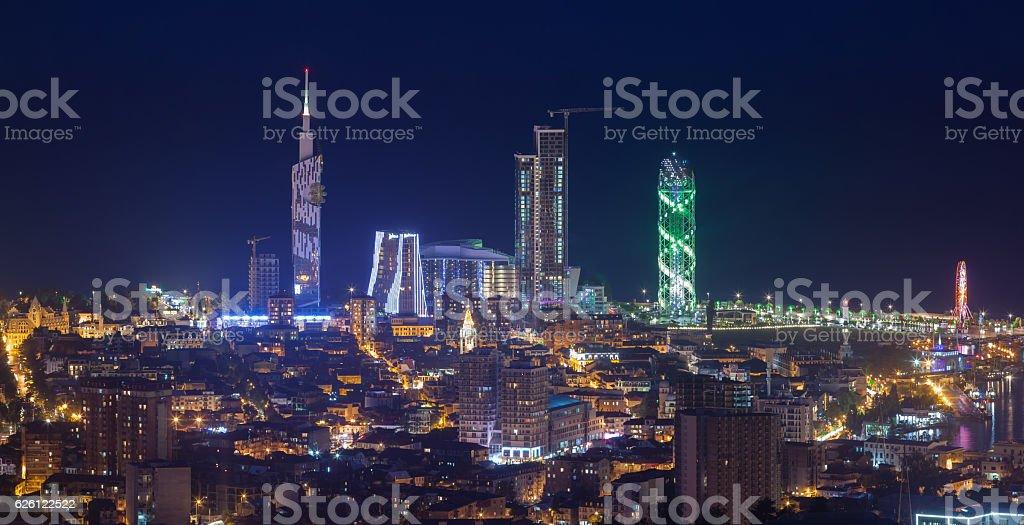 Panorama night city Batumi stock photo