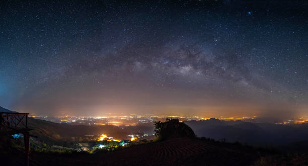 panorama night landscape mountain and milky way  galaxy background , panoramic thailand  , long exposure , low light stock photo