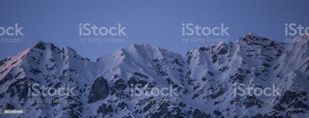Panorama: Nordkette mountain at blue hour stock photo