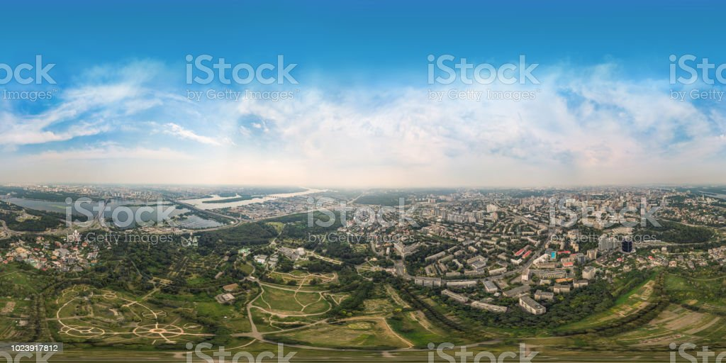 Panorama of 360 degrees of the National Botanical Garden in Kiev. Aerial view stock photo
