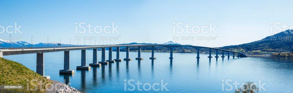 Panorama of a bridge in Norway stock photo