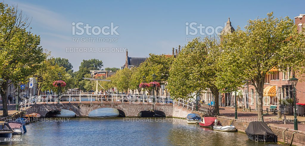 Panorama of a canal in the center of Alkmaar stock photo