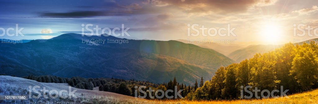 panorama of a day to night change concept stock photo