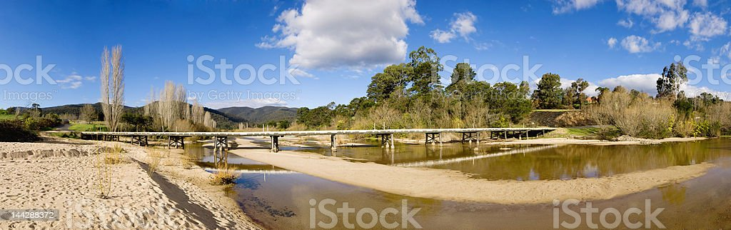 Panorama of a dry creek royalty-free stock photo