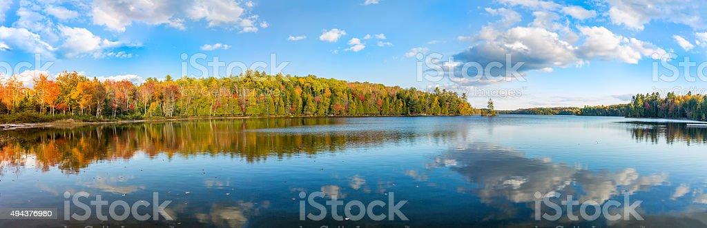 Panorama of a Lake in Autumn - Ontario, Canada stock photo