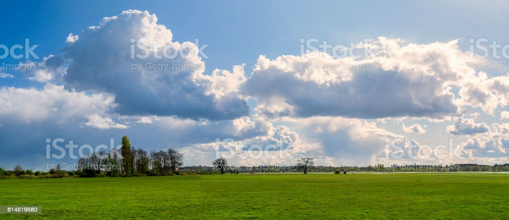 panorama of a landscape with beautiful cloudscape stock photo