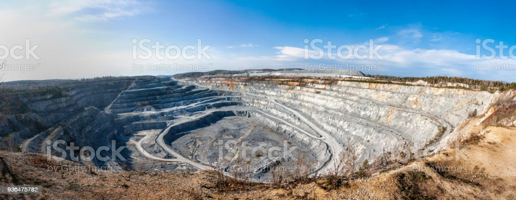 Panorama of a large calcareous quarry стоковое фото