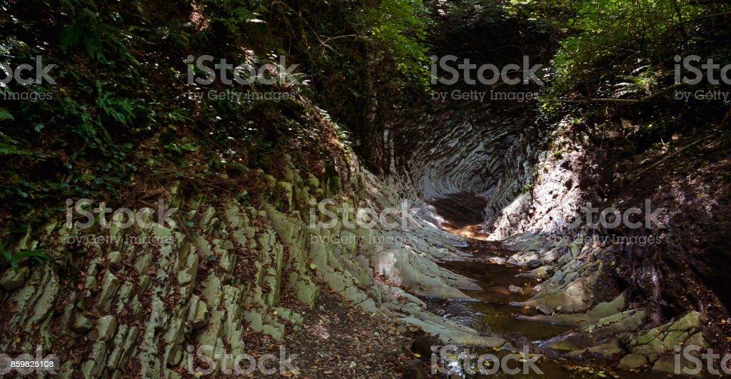 Panorama of a mountain gorge stock photo