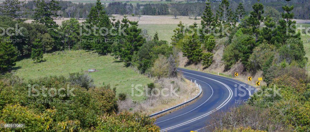 Panorama of a Road Bend in Australia royalty-free stock photo