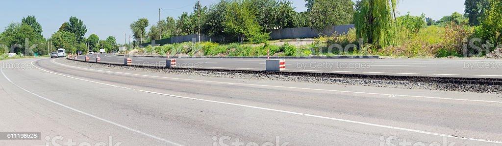 Panorama of a road repair stock photo