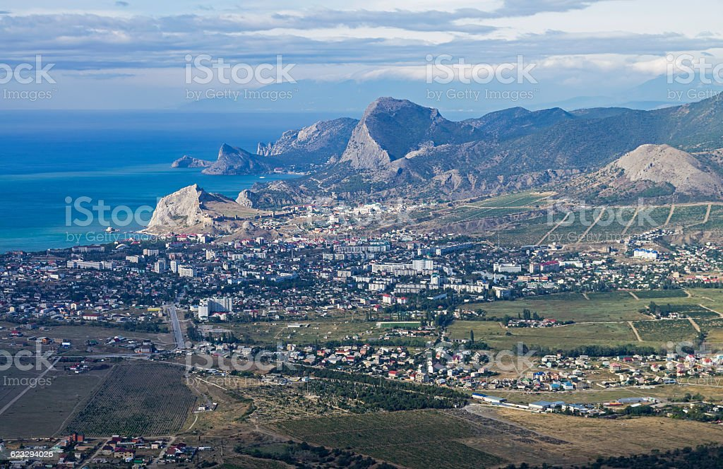 Panorama of a small resort town in Crimea from the stock photo