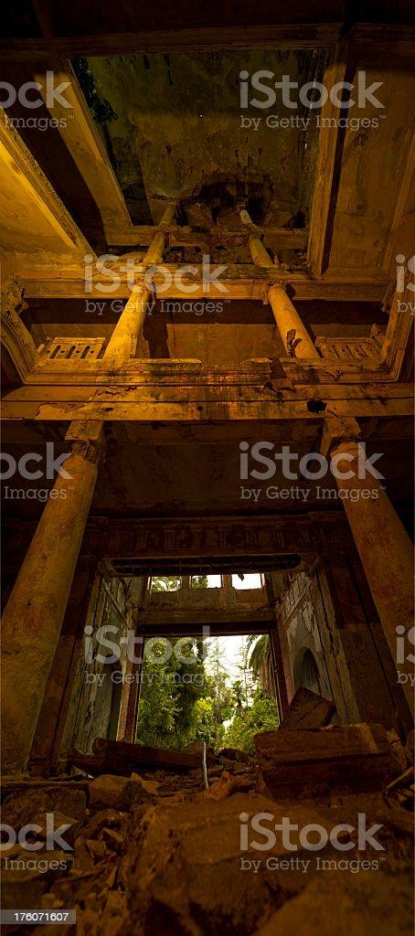 Panorama of abandoned palace interior royalty-free stock photo