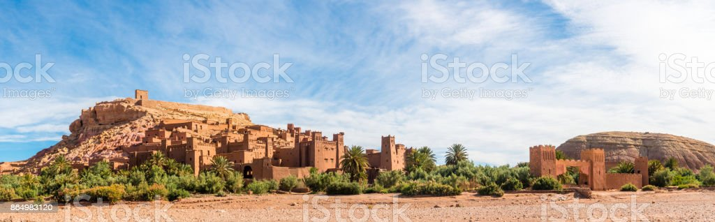 Panorama of Ait Benhaddou, Morocco stock photo