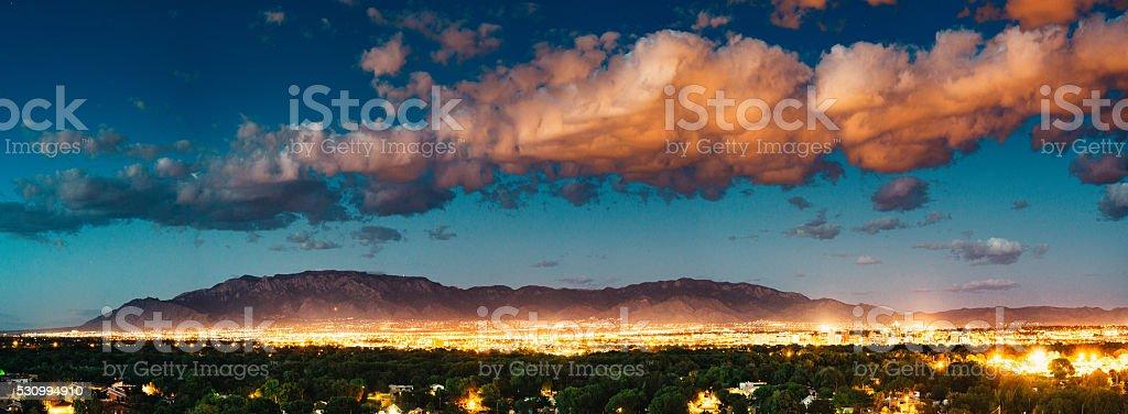 Panorama of Albuquerque Skyline and Sandia Peak stock photo