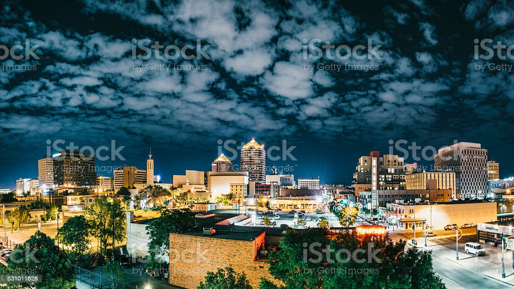 Panorama of Albuquerque Skyline at Night stock photo