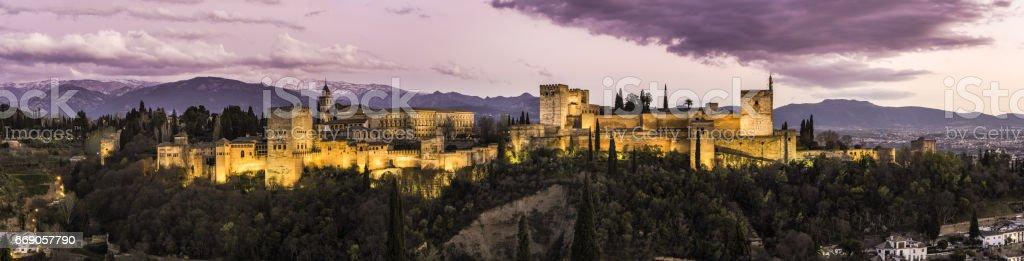 Panorama of Alhambra palace in Granada,Spain stock photo