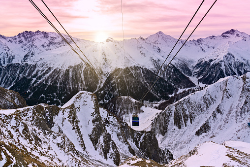 Panorama of alpine mountains in the morning at the Ischgl ski resort, Austria.