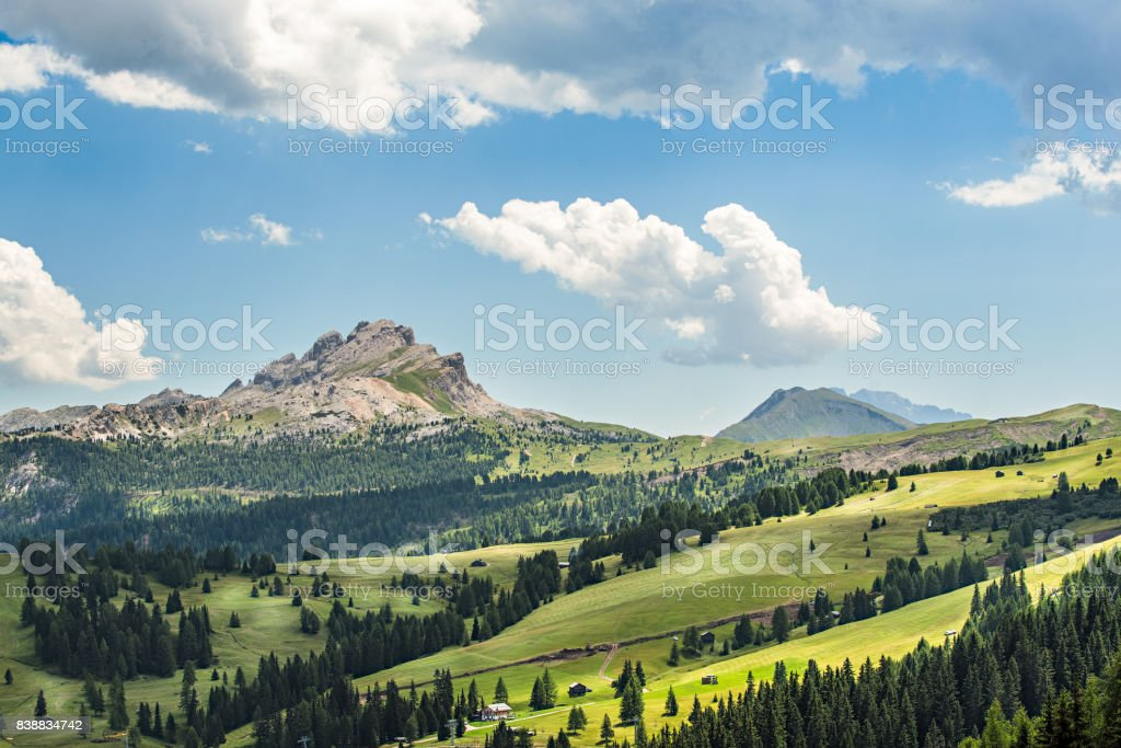 panorama of alto adige region in northern italy on summer stock photo