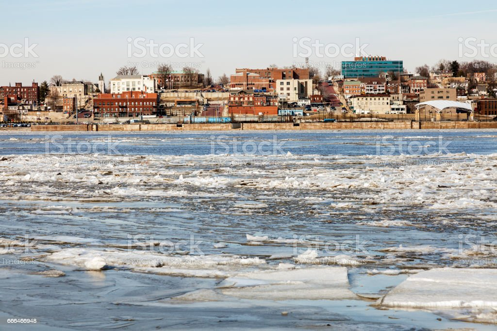 Panorama of Alton across Mississippi River stock photo