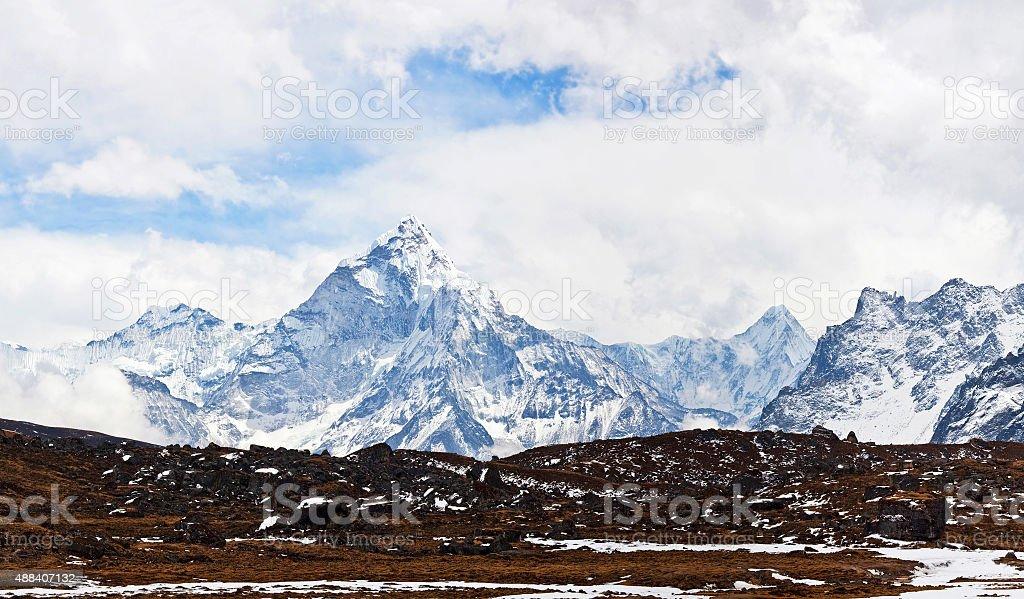 Panorama of Ama Dablam peak, Nepal stock photo