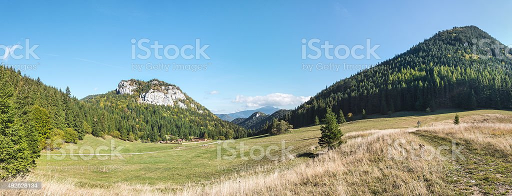 Panorama of amazing mountain landscape under blue sky stock photo