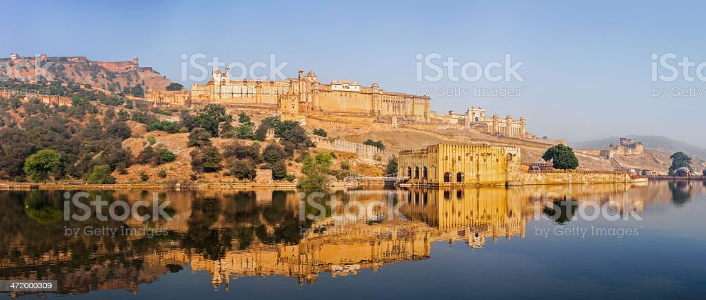 Panorama of Amer (Amber) fort, Rajasthan, India stock photo