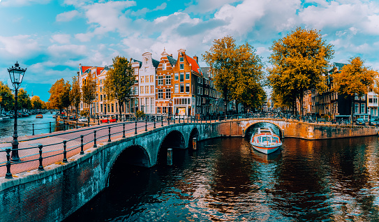Panorama of Amsterdam. Famous canals und bridges at warm afternoon light. Netherlands.