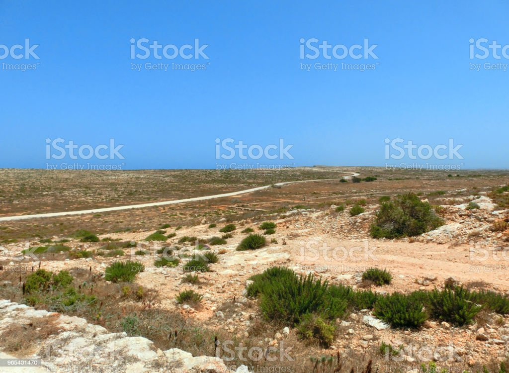 Panorama of an arid and barren island with little vegetation zbiór zdjęć royalty-free