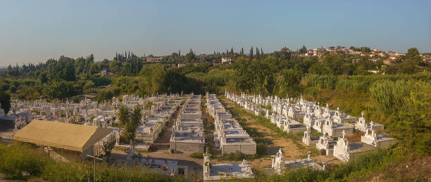 Panorama of an cemetary in Greece. stock photo