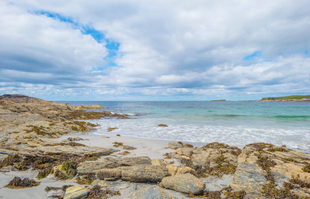 Panorama of an irish coast and beach along the atlantic ocean in summer stock photo