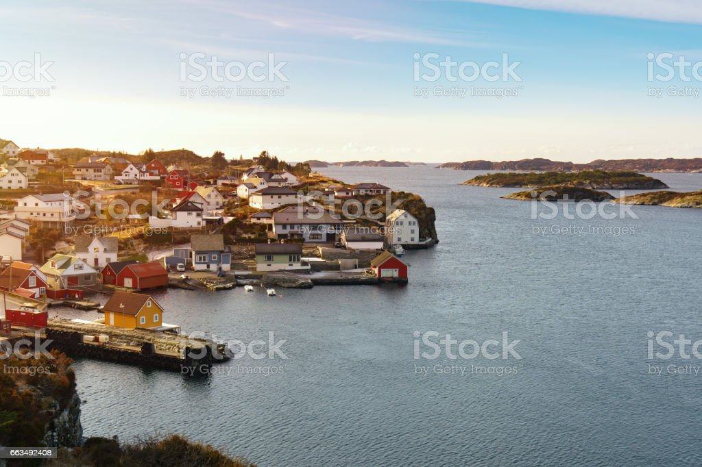 Panorama of an island coastline in Norway stock photo