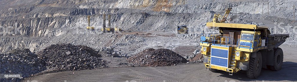 Panorama of an open-cast mine royalty-free stock photo