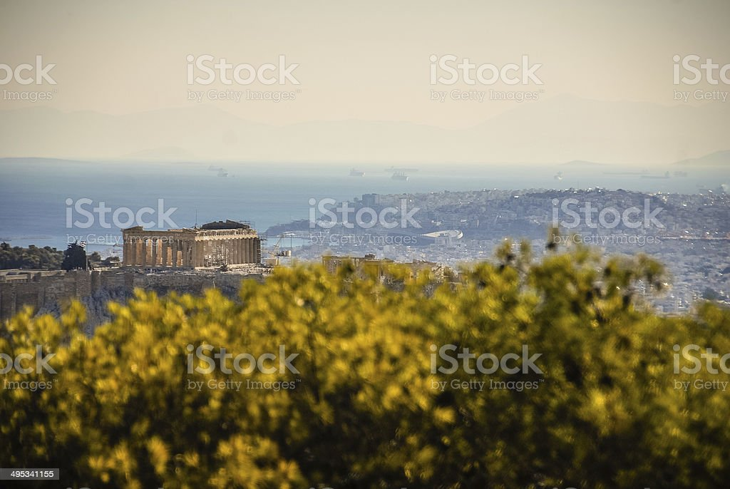 Panorama of Ancient Athens stock photo