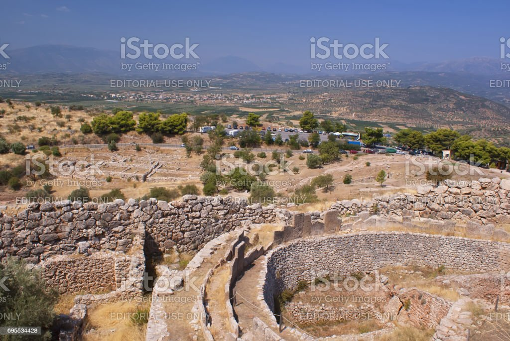 Panorama of ancient Mycenae. Ancient Troy. A historical place. The ancient civilization.'n stock photo