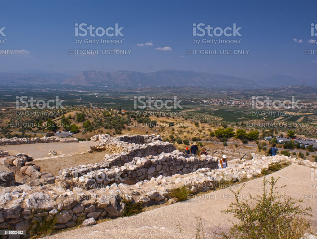 Panorama of ancient Mycenae. Ancient Troy. A historical place. The ancient civilization. stock photo