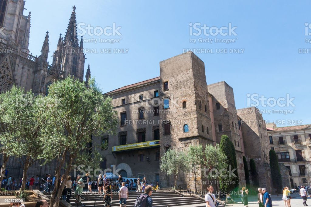 Panorama Of Ancient Roman Gate And Placa Nova Barri Gothic Quarter Barcelona Catalonia