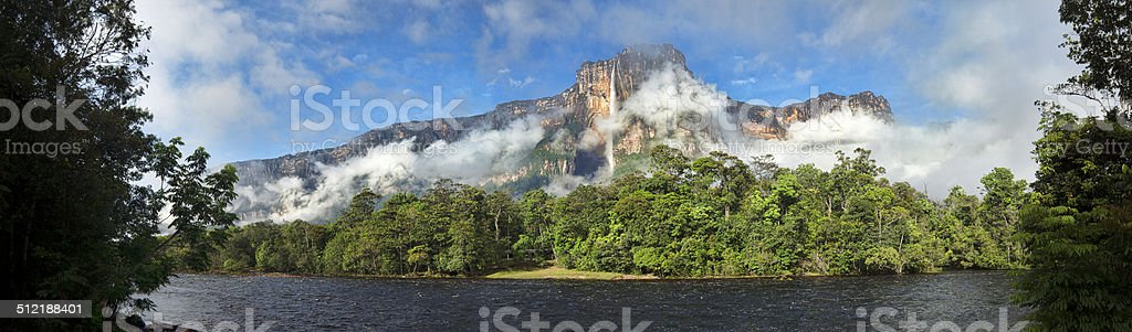 Panorama of Angel Falls in Venezuela, with clouds stock photo